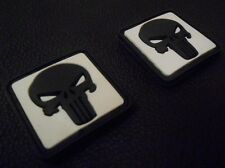 2 PUNISHER SKULL GITD GLOW IN DARK RUBBER PVC SWAT VELCRO® BRAND FASTENER PATCH