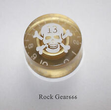 1 X Gold + White Skull Speed Knob to fit a Les Paul / SG Electric Guitar