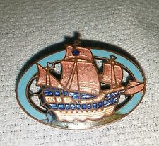 Vintage Enameled Solid Copper Masted Ship Oval C Clasp Brooch Pin