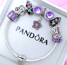 Authentic Pandora Silver Bangle Bracelet With Mom Heart Family European Charms.