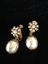 Vintage Miriam Haskell Drop Style Earrings with Pearls ~Signed