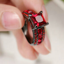 Hot Lady/Women's14KT Black Gold Filled Ruby Wedding Bridal Ring Gift size 7