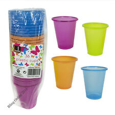 PACK OF 36 ASSORTED BRIGHT COLOUR DISPOSABLE PLASTIC PARTY 200ml DRINKS CUPS