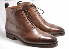 NEW!! MEERMIN Mallorca Balmoral semi brogue cap toe boots in Oak 7.5 UK, 8.5 US