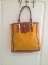 Tory burch mustard yellow canvas brown leather shoulder bag