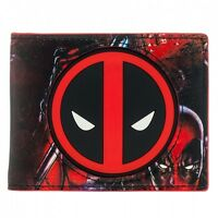 AWESOME MARVEL'S DEADPOOL RUBBER SYMBOL & CLOSE UP FACE PRINT WALLET *BRAND NEW*