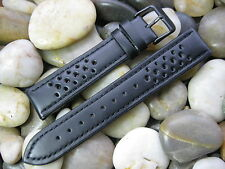 20 mm Hadley Roma MS755 Black Perforated Leather Sport Rally Watch Band strap