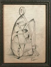 CUBIST ABSTRACT DRAWING Richard Ayer San Francisco Mid Century MODERN 1940 Frame
