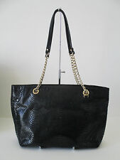 Michael Kors Chain Black Patent Leather Tote Shoulder Handbag