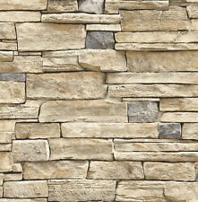 Wallpaper Faux Smooth Stacked Rock Stone Beige Tan Charcoal Cream Gray
