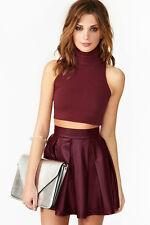 New STOOSH Juniors Flirty Chic Vegan Leather Pleated Skater Skirt Med Burgundy