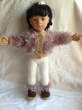 "Dolls Fashion clothes knitting  pattern.18"" doll. Fur Jacket, leggings and boots"