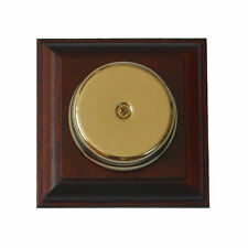 Wired Wall Mounted Underdome Brass Doorbell on a Solid Mahogany Plinth.