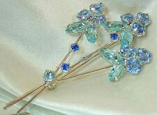 X Sparkly Juliana Vintage 60's Blue Rhinestone Flower Bouquet Brooch 428S6