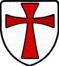 KNIGHTS TEMPLAR CROSS SHIELD, Crusaders, /Iron On Embroidered Patch, Red Cross