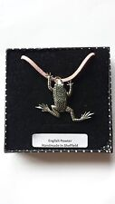 C11 Leaping Frog Motif Pewter  PENDENT ON A PINK CORD Necklace Handmade