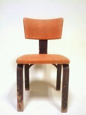 Vintage Mid Century Danish Modern Chair Office Wood Thonet Barrel Atomic Clam 60