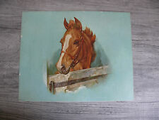 Vintage Horse in Stable Print Donald Art Company New York 1961 Equestrian Decor