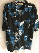 SILK Island Republic Hawaiian SHIRT XXL  EUC Big & Tall Blue Black White Men's