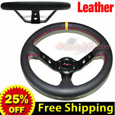 "JDM 350mm 14"" LEATHER DEEP DISH Racing Steering Wheel RED Stitch Universal BLACK"