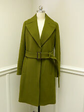 New JCREW Double Cloth Wool Belted Trench Warm Olive green 8 Coat e4733 $425