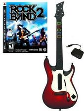 NEW PS3 Wireless Guitar Hero 5 Guitar & Rock Band 2 Game Bundle Kit RARE