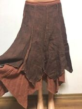 COMPLETO LINO by ARTHURIO size S - M 100%LINEN Skirt Asymmetric Checked Brown