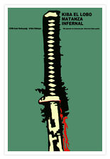 Cuban movie Poster for film.Kiba El LOBO.Wolf.Japanese Samurai Sword.Art design