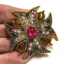 Vintage Estate Multi Color Rhinestone & Cabochon Maltese Cross Brooch Gold M611n