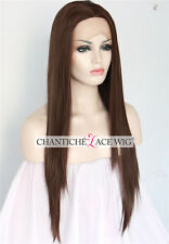 Best Lace Front Wigs Dark Brown Synthetic Hair Long Straight Wig Heat Friendly