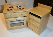 dolls house furniture Dijon pine cooker and unit 1/12th scale toy