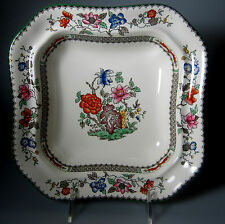 """Spode Chinese Rose (EARTHENWARE)  SQUARE VEGETABLE BOWL 9 1/4""""  GREEN TRIM"""