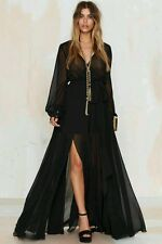 Nasty Gal Go Your Own Way Maxi Dress Sheer Long Sleeve Chiffon sz S Black