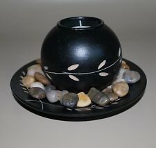 Tealight CANDLE HOLDER decorative black wood Christmas gift Table Decor