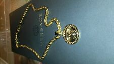 "Gold,Medusa Head Pendant (1.9"") & 30"" Chain(5mm), 24kt,Gold Filled,with gift Box"