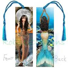 MERMAID BOOKMARK Large w/Tassel Fairy Ocean Brunette ART CARD Figurine Ornament