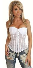 Ladies White Bridal Sexy Boned Corset & G String Lace Bustier Lingerie 10-12