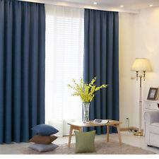 Quality Blockout Eyelet Curtains Linen Thermal Insulated Navy Blue 130cmx230cm