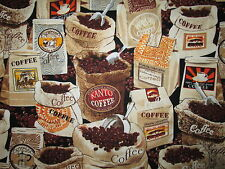 COFFEE BAGS DRINKS CAFE SPECIAL JAVA COTTON FABRIC FQ