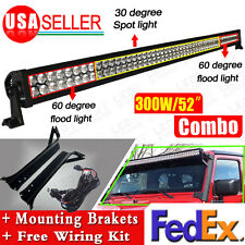 "300W 52"" LED Work Light Bar + Mounting Brackets + Wiring for Jeep TJ Wrangler US"