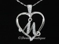 Sparkling Clear Heart Letter M 925 Sterling Silver Pendant .925 Fine Jewelry