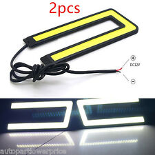 2pcs U Shape COB Daytime Run Light DRL Headlight Fog Signal Lamp 6000K led White