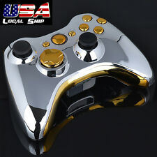 DIY Chrome Silver Full Housing Shell with Gold Buttons for Xbox 360 Controller