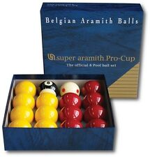 "ARAMITH PRO CUP POOL BALLS TOURNAMENT MATCH 2""(51mm)RED&YELLOW,1 7/8""TV CUE BALL"