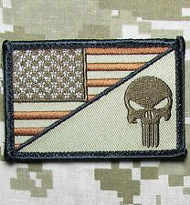 PUNISHER SKULL USA AMERICAN FLAG ARMY MORALE TACTICAL DESERT HOOK PATCH