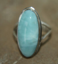Larimar ring 925 Sterling Silver Lovely Oval Ring approx O  P  7.5