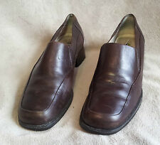 Portland CHOCOLATE BROWN Leather Upper Slip On Block Heel Shoes C15056 Size 8.5