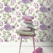 SALE | Vintage Shabby Chic Meadow Flower Trail Wallpaper Bordeaux Plum 208542