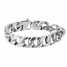 'Munich' Matte Silver Stainless Steel Chunky Curb Link Chain Bracelet for Men