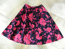 TALBOTS Black And Pink Floral Print  Satin A Line Skirt 8